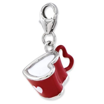 Sterling Silver Enameled 3-D Heart Cup w/Lobster Clasp Charm