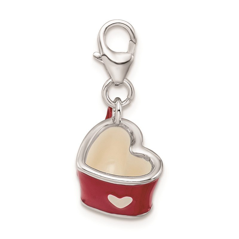 Quality Gold Sterling Silver RH Enameled 3-D Heart Cup w/Lobster Clasp Charm