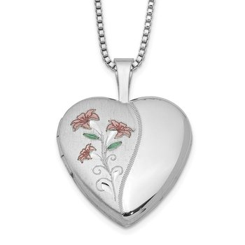 Sterling Silver Rhodium-plated 16mm Enameled Lily Heart Locket Necklace