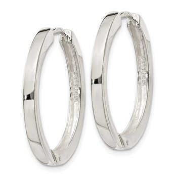 Sterling Silver 2.5x25mm Hinged Hoop Earrings