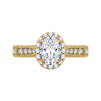 18K Yellow Gold Oval Diamond Halo Engagement Ring (Semi-Mount)