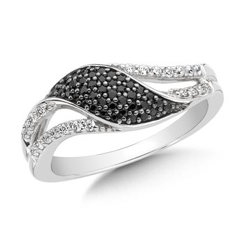 Pave set, Swirl Design, Black and White Diamond Fashion Ring in 14k White Gold (1/3ct. tw.)