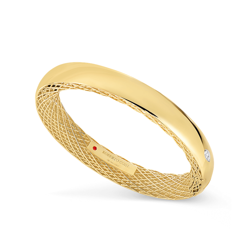 Roberto Coin 18Kt Gold Slim Bangle With Diamonds
