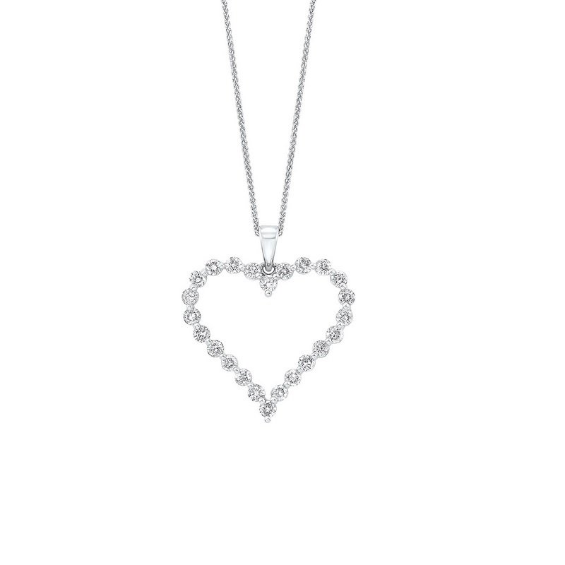 Gems One Diamond Open Heart Pendant Necklace in 14k White Gold (1 ctw)