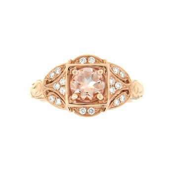 14k Rose Gold Ring with Morganite & Diamond