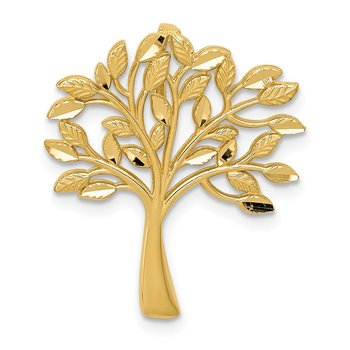 14k Diamond-cut Polished Tree of Life Slide