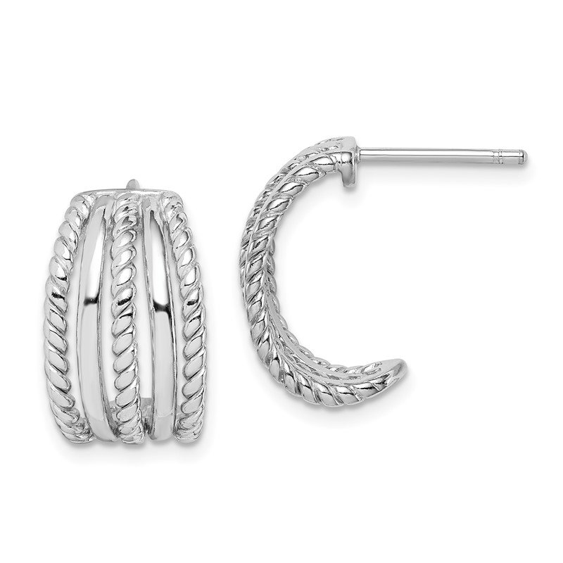 Arizona Diamond Center Collection Sterling Silver Rhodium Plated C-Hoop Post Earrings