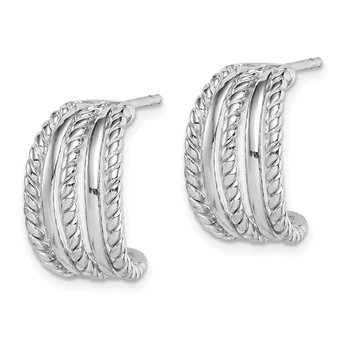 Sterling Silver Rhodium Plated C-Hoop Post Earrings