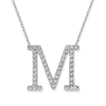 "Diamond All Star Initial ""M"" Necklace in 14K White Gold with 45 diamonds weighing .45ct tw."
