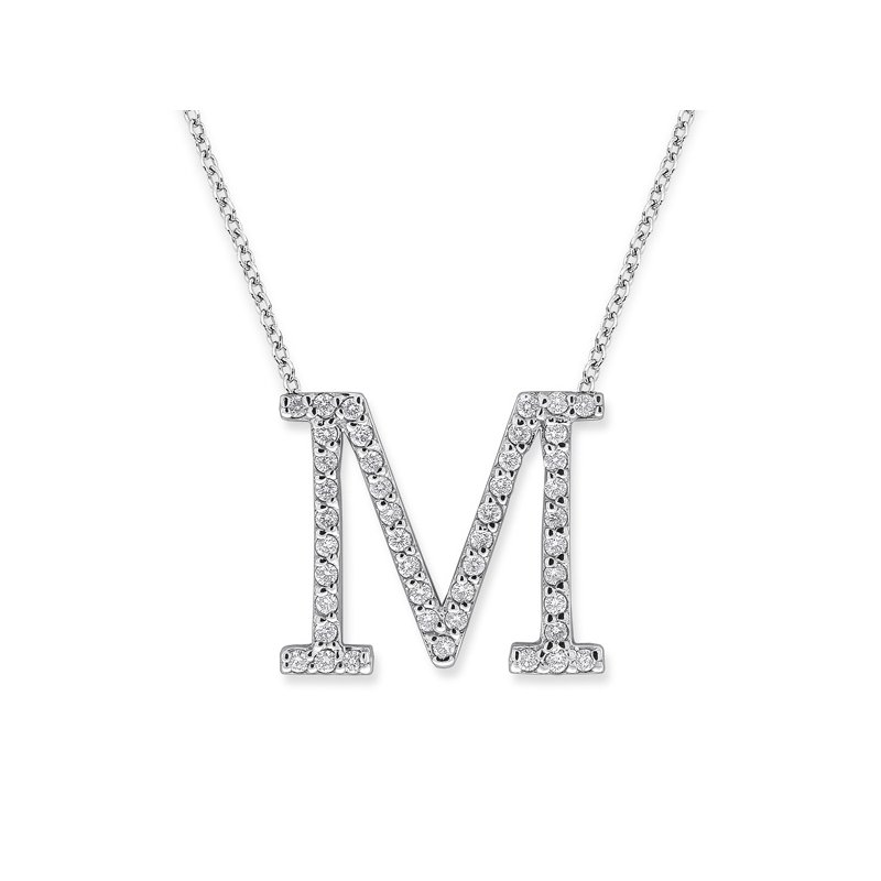 "MAZZARESE Fashion Diamond All Star Initial ""M"" Necklace in 14K White Gold with 45 diamonds weighing .45ct tw."