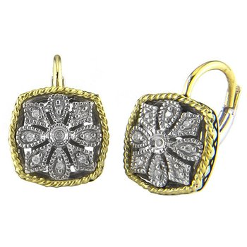 18kt and Sterling Silver Cushion Antique Flower Diamond Euro Wire Earrings