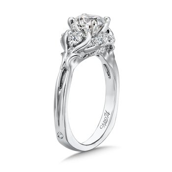 Modernistic Collection Engagement Ring With Diamond Side Stones in 14K White Gold with Platinum Head (1ct. tw.)