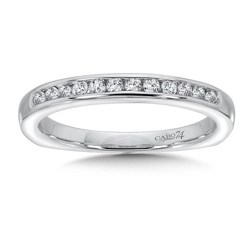 Caro74 Channel-set Diamond and 14K White Gold Wedding Ring