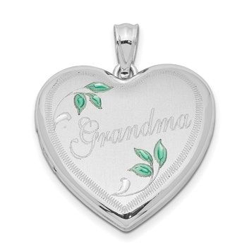 Sterling Silver Rhodium-plated 24mm Enameled Leaf Grandma Heart Locket