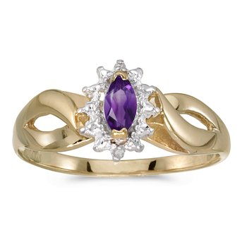 10k Yellow Gold Marquise Amethyst And Diamond Ring