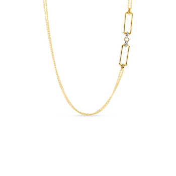 18K LONG CHAIN W. RECTANGULAR ELEMENTS & DIA ACCENT