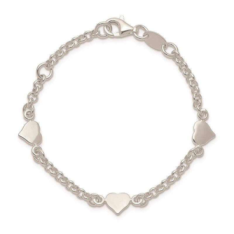 Quality Gold Sterling Silver Heart shapes with 5.5in Plus .25in ext. Children's Bracelet
