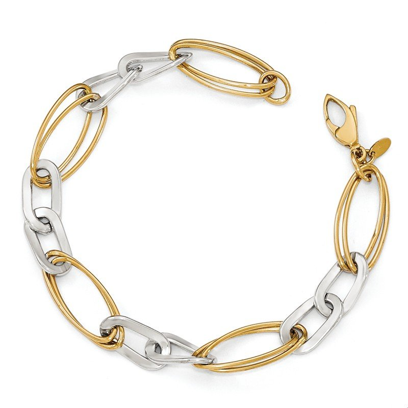 Leslie's Leslie's 14K Two-tone Polished Fancy Link Bracelet
