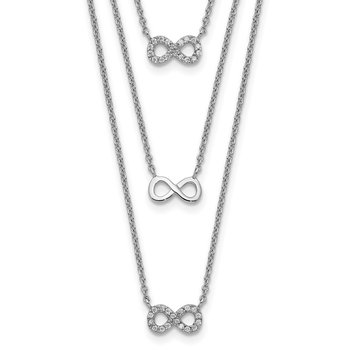 Sterling Silver Rhod-plated 3-Strand CZ Infinity w/2in ext. Necklace