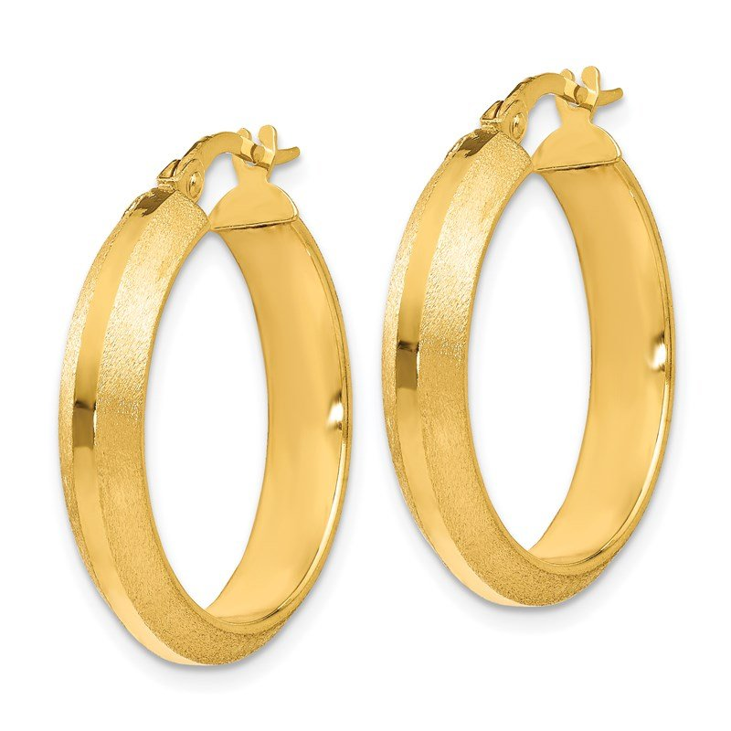 Leslie's Leslie's 14k Polished and Brushed Hinged Hoop Earrings