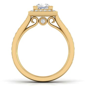 Vintage 14K Yellow Gold Princess Halo Diamond Engagement Ring