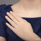 ASHI pear shape semi-mount diamond engagement ring