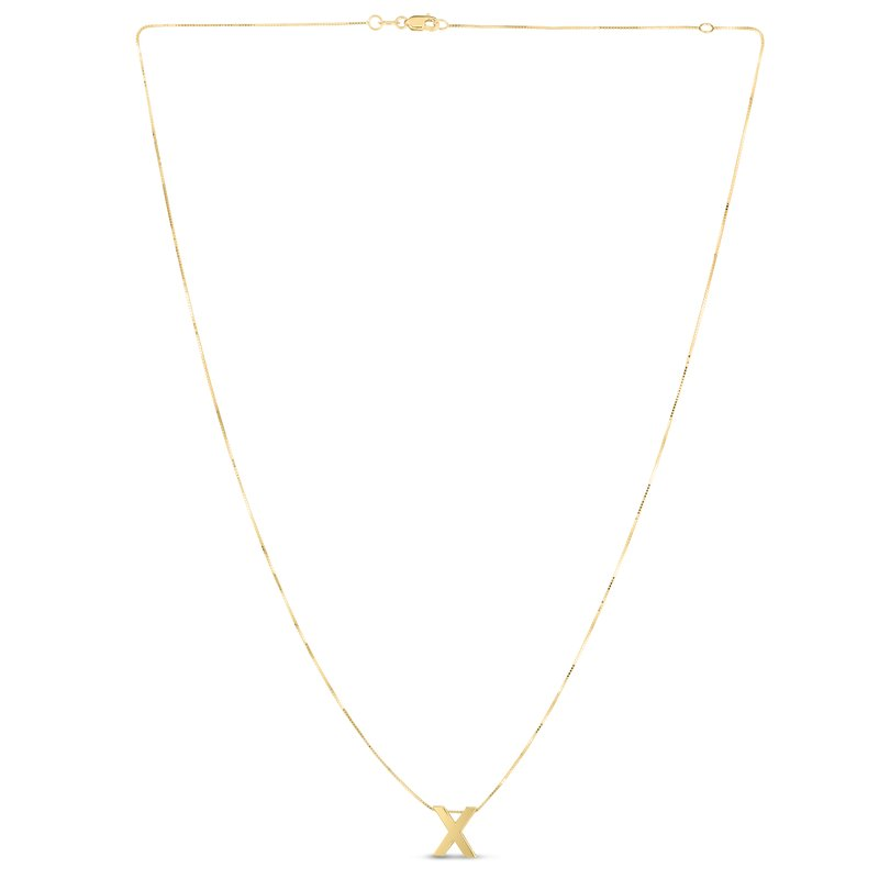Royal Chain 14K Gold Block Letter Initial X Necklace