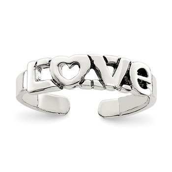 Sterling Silver Antiqued LOVE Toe Ring