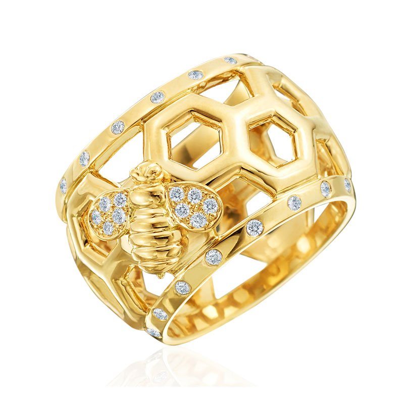 "Gumuchian Honeybee ""B"" Diamond Honeycomb Border Ring R880BY"