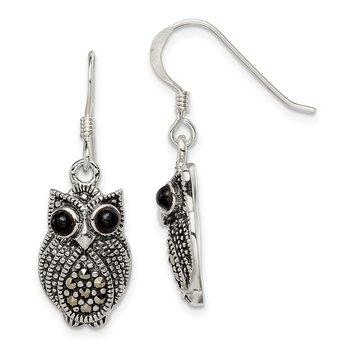 Sterling Silver Marcasite and Black Agate Owl Shepherd Hook Earrings