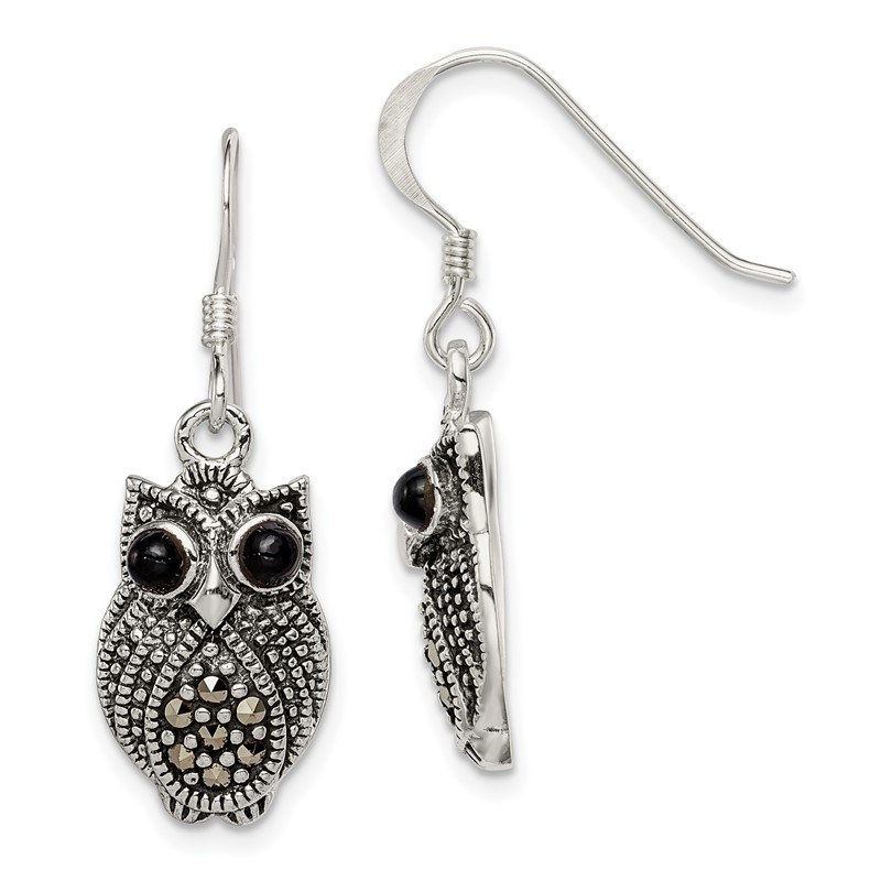 Quality Gold Sterling Silver Marcasite and Black Agate Owl Shepherd Hook Earrings