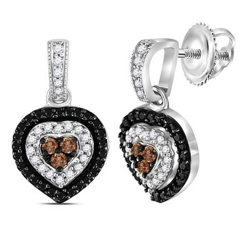 Sterling Silver Womens Round Black Color Enhanced Diamond Heart Dangle Earrings 1/2 Cttw