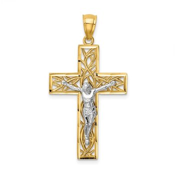 14K Two-Tone Satin Polished D/C Crucifix W/Vines Pendant