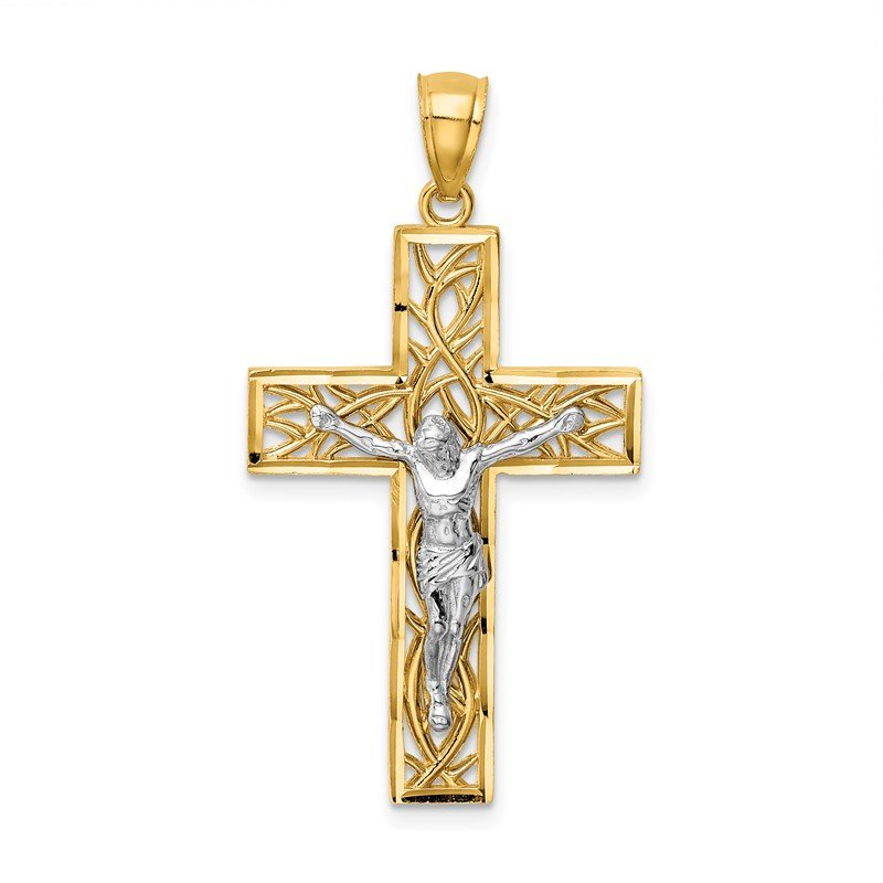 Quality Gold 14K Two-Tone Satin Polished D/C Crucifix W/Vines Pendant