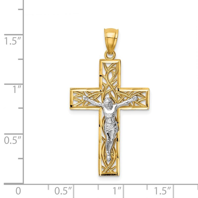 14k Polished Satin and D-C Crucifix Pendant