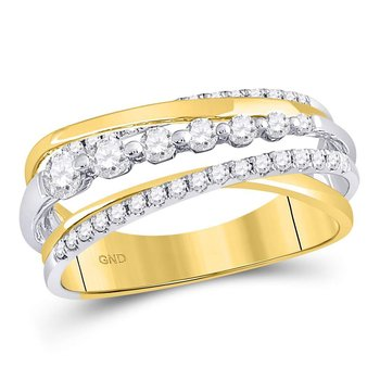 14kt Yellow Gold Womens Round Diamond Triple Row Diagonal Band Ring 1/2 Cttw