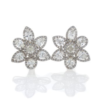 MULTI SHAPE DIAMOND CLUSTER EARRINGS