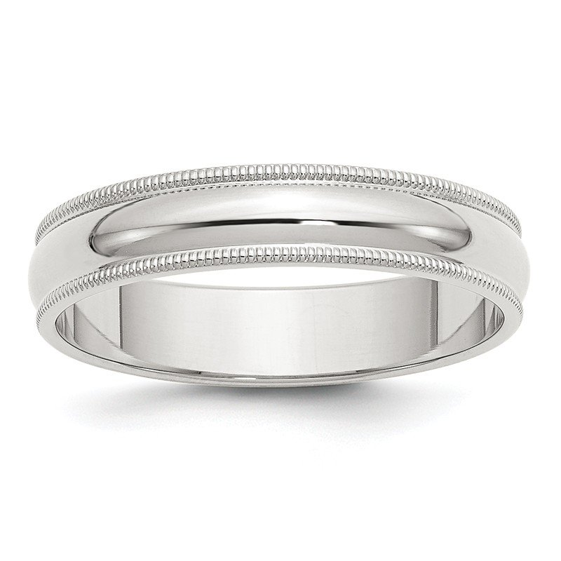 Quality Gold Sterling Silver 5mm Half Round Milgrain Band