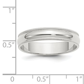 Sterling Silver 5mm Half Round Milgrain Band