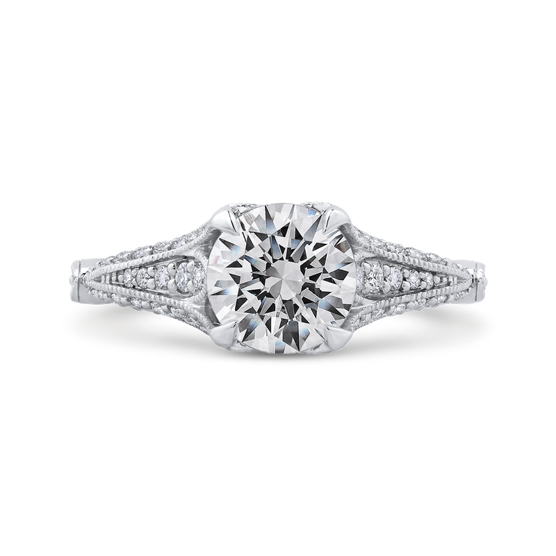 Round Cut Diamond Vintage Engagement Ring In 18K White Gold (Semi-Mount)