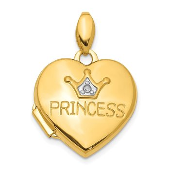 14K Diamond 16mm Princess Locket Pendant