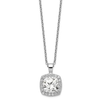 Cheryl M 18in Sterling Silver Rhodium-plated CZ Square Necklace