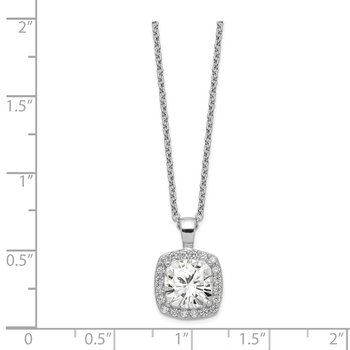 Cheryl M Sterling Silver CZ Square 18 in Necklace