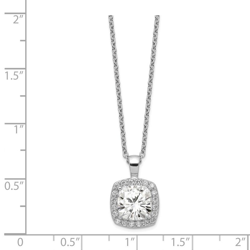 Cheryl M Cheryl M 18in Sterling Silver Rhodium-plated CZ Square Necklace