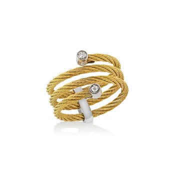 Yellow Cable Flex Ring with 18kt White Gold & Diamonds