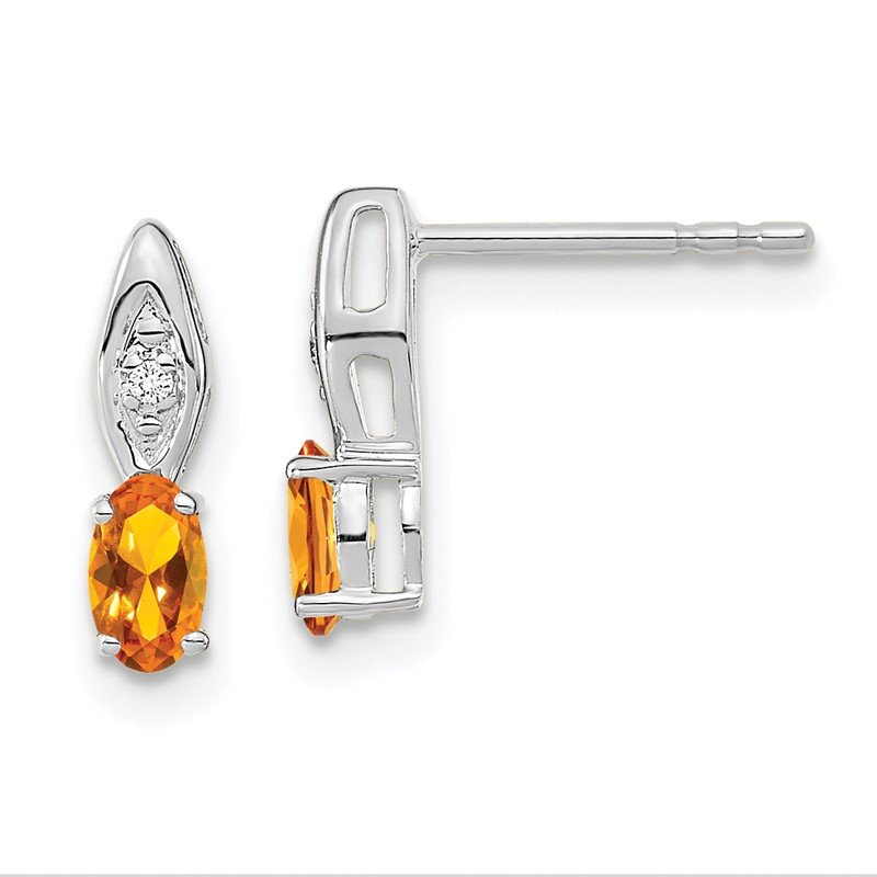 Quality Gold 14k White Gold Citrine and Diamond Post Earrings