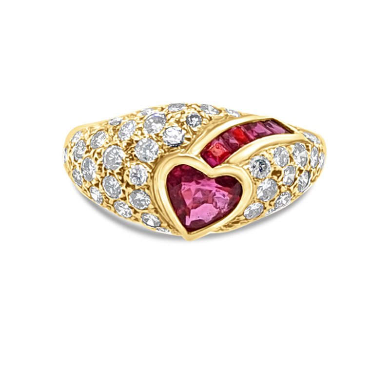 18K Yellow Gold Diamond Ruby Heart Fashion Ring Vintage