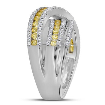 14kt White Gold Womens Round Canary Yellow Diamond Crossover Fashion Band Ring 1-1/2 Cttw