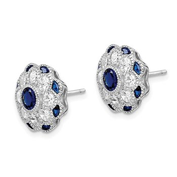 Sterling Silver RH-plated CZ/Synthetic Blue Spinel Flower Post Earrings