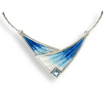 Blue Contoured Leaf Necklace.Sterling Silver-Blue Topaz